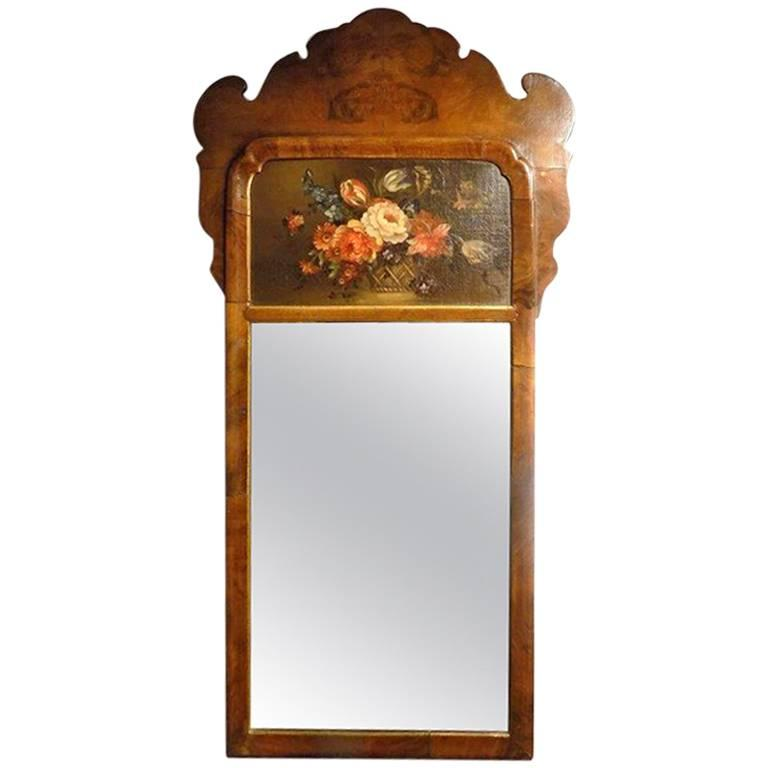 Small Walnut Queen Anne Style Wall Mirror For Sale