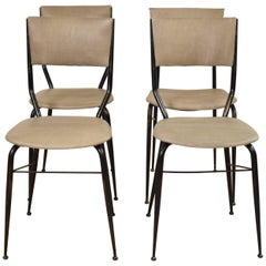 Midcentury Italian Metal and Leather Dining Chairs, Set of Four