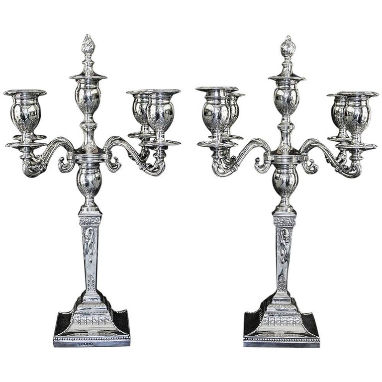 Pair of Victorian Sterling Silver Five-Light Candelabra