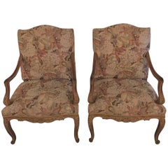 Pair of Distressed Finely Carved Louis XV Style Fauteuils Manner Jansen