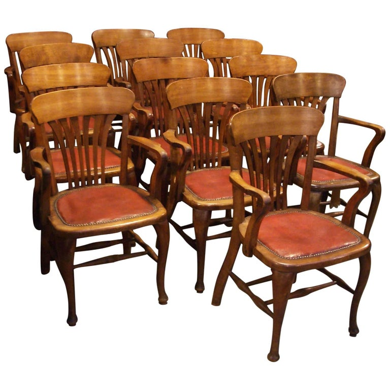 Unique Set of 13 Mahogany Office Chairs For Sale