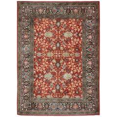 Vintage Wool 'Flowers of the Seven Hills' Turkish Hereke Carpet