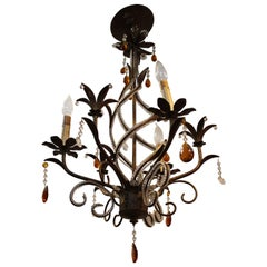 Patinated Brass and Orange Crystal Drop Chandelier