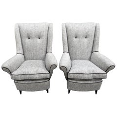 Pair of 20th Century Italian High Backed Linen Armchairs