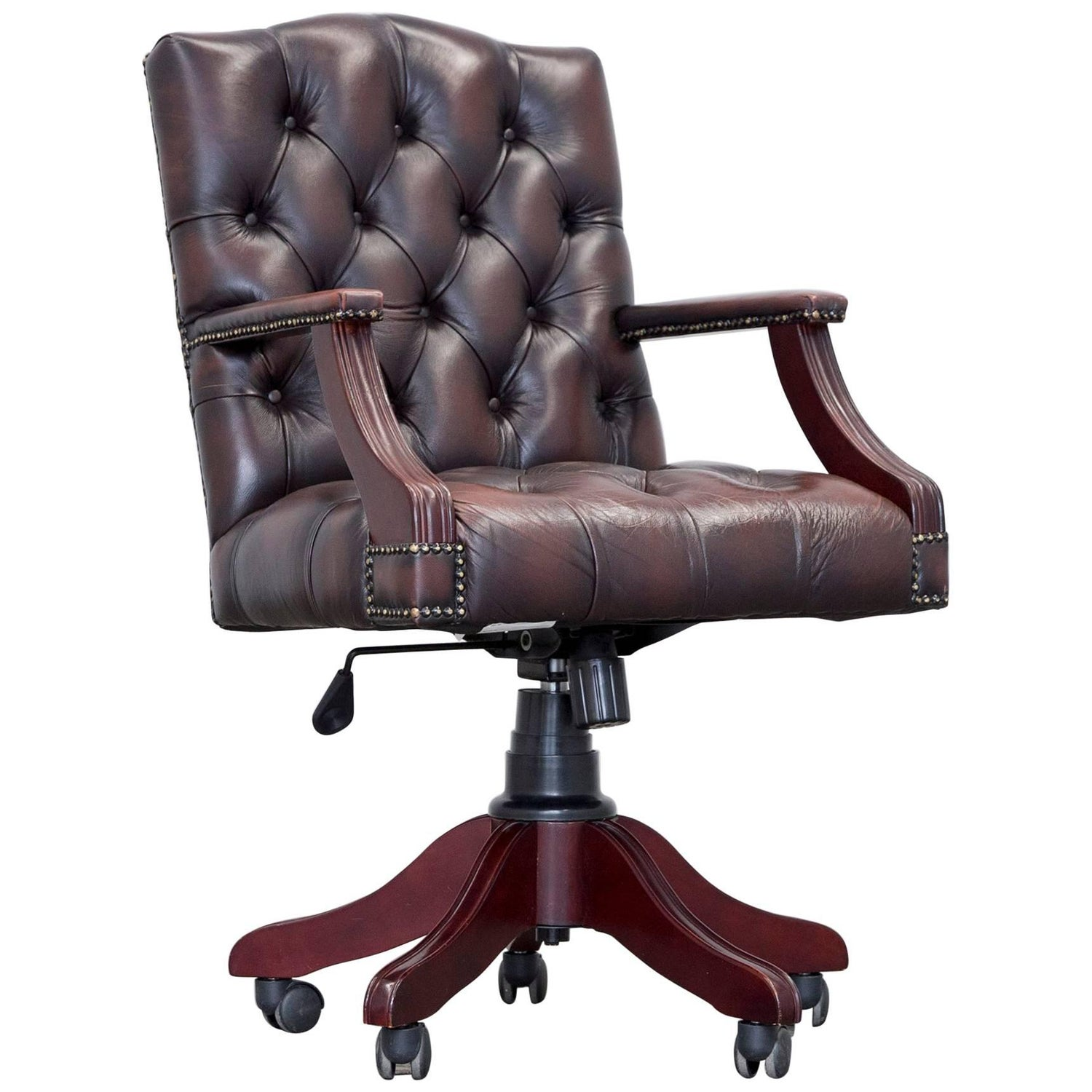 Chesterfield Swivel Chair Leather Brown Red at 1stdibs
