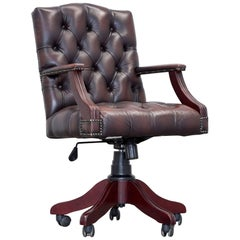 Chesterfield Swivel Chair Leather Brown Red