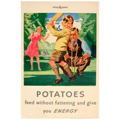 Original WWII Food Poster - Potatoes Feed Without Fattening And Give You Energy