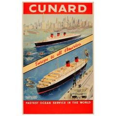 Original Cunard Poster - Europe To All America - Queen Mary And Queen Elizabeth
