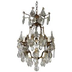 Wonderful Petite French Bronze Gilt Crystal Four-Light Chandelier Light Fixture