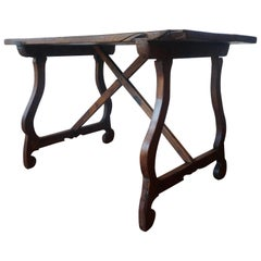 18th Century, Spanish Baroque Trestle Refectory Desk Table on Lyre-Shaped Legs
