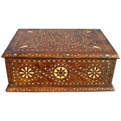 19th Century Inlaid Spanish Tabletop Box, Walnut and Chestnut