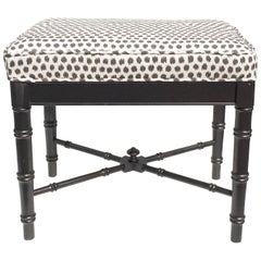 Faux Bamboo Ottoman with New Scalamandré Fabric