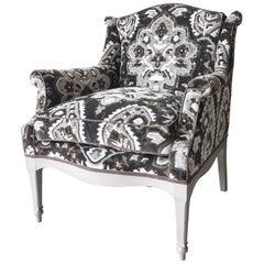 1940s Armchair with New Scalamandre Oushak-Motif Linen Velvet Fabric