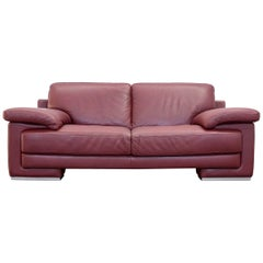 Natuzzi Designer Leather Three-Seat Couch Red