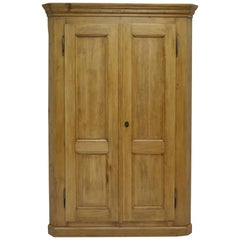 Vintage Pine Two-Door Corner Cupboard
