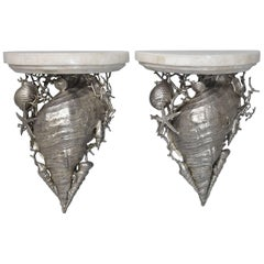Pair of Marble-Top Silver Plated Brass Shell Wall Shelves by Maitland Smith