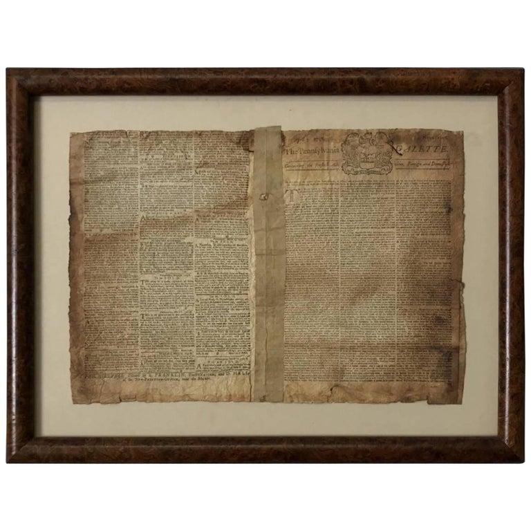 Original Edition of the Pennsylvania Gazette, Printed by Ben Franklin, 1748