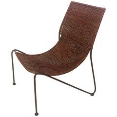 Iron and Wicker Scoop Chair