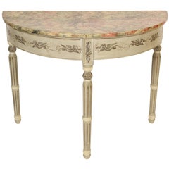 Louis Philippe Painted Demilune Console Table
