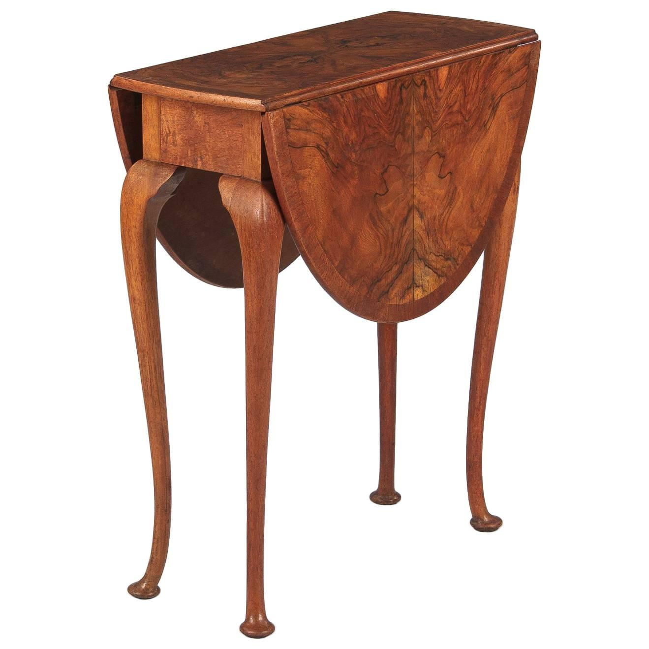 Queen Anne Style Petite Drop Leaf Table, England, Late 1800s