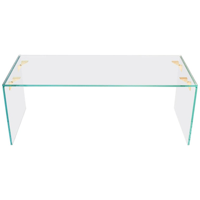 Bow Tie Table, Contemporary Glass and Bronze Coffee Table