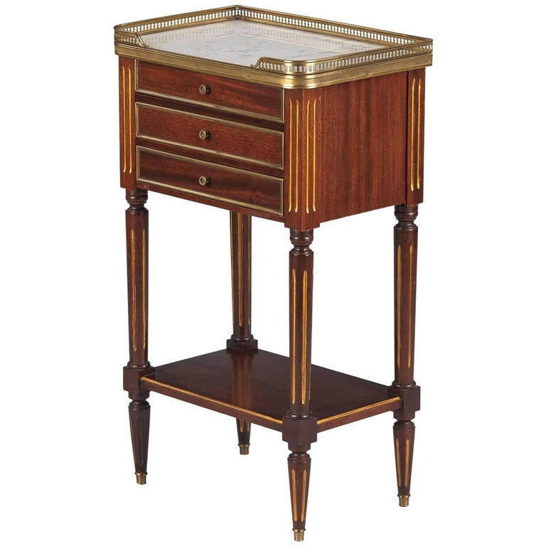 Louis XVI Style Marble-Top Bedside Cabinet, 1920s For Sale