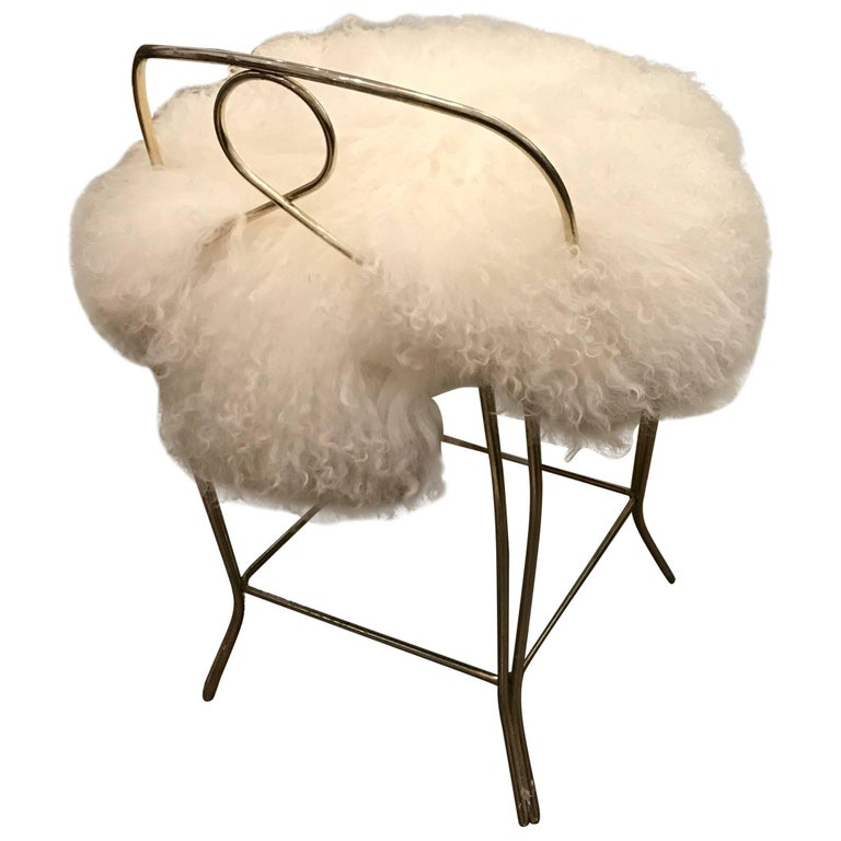 Mid-Century Modern Hollywood Regency Glam Mongolian Fur and Brass Vanity Stool