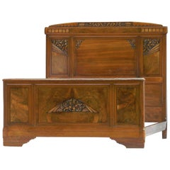 Art Deco Bed French Attr Sue et Mare Carved Walnut, 1930s