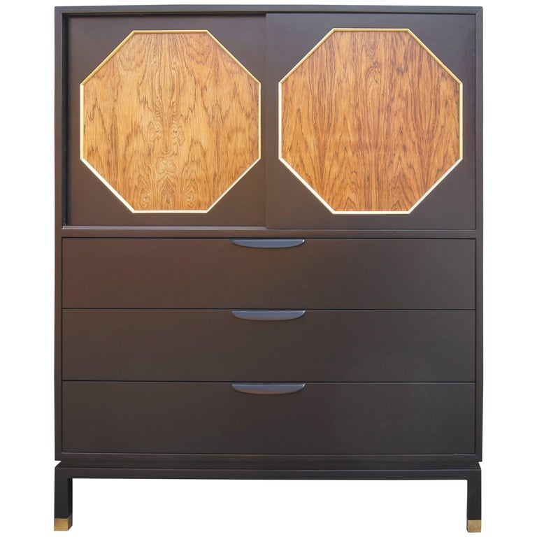 Ebonized Mahogany and Rosewood Cabinet by Harvey Probber For Sale