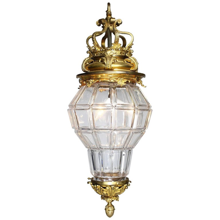 "French 19-20th Century Gilt-Bronze & Molded Cut-Glass ""Versailles"" Style Lantern"