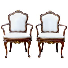 19th Century Venetian Baroque Armchairs, Pair