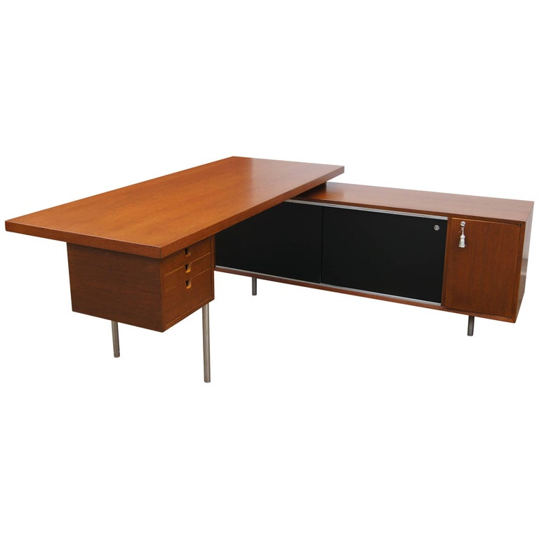 Walnut EOG Desk with Storage Unit by George Nelson for Herman Miller For Sale