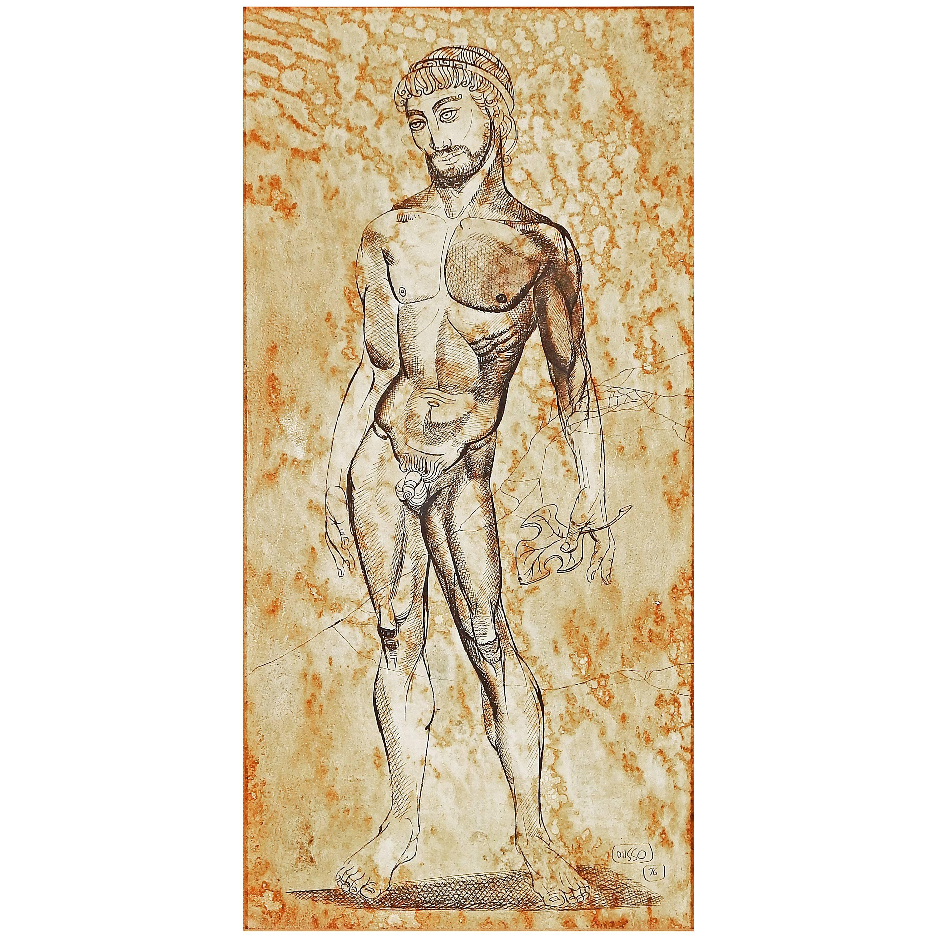 """""""Fig Leaf Removed,"""" Greek Male Nude, Midcentury Painting by Dusso"""