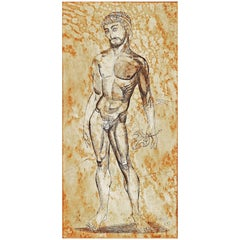 """Fig Leaf Removed,"" Greek Male Nude, Midcentury Painting by Dusso"