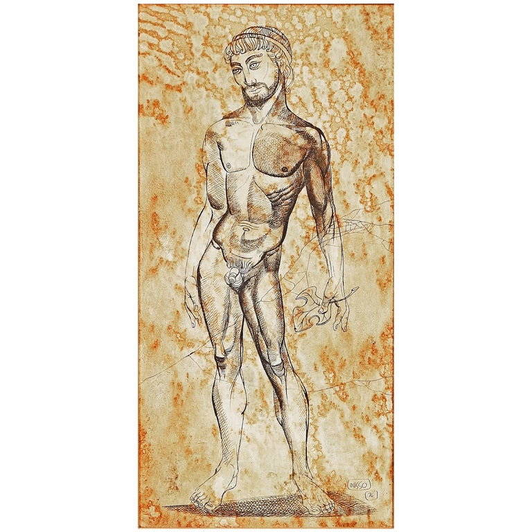 """""""Fig Leaf Removed,"""" Greek Male Nude, Midcentury Painting by Dusso For Sale"""