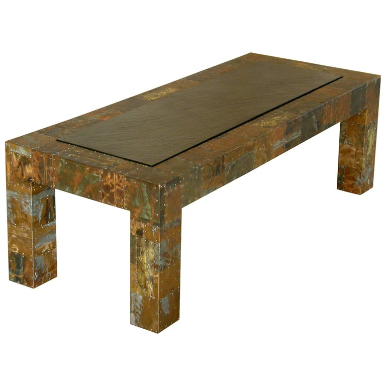 H a larson brutalist patchwork coffee table with slate top for sale at 1stdibs Slate top coffee tables