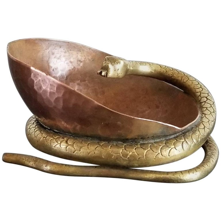 Petite Brass and Copper Snake Shaped Vessel, France, 1930s
