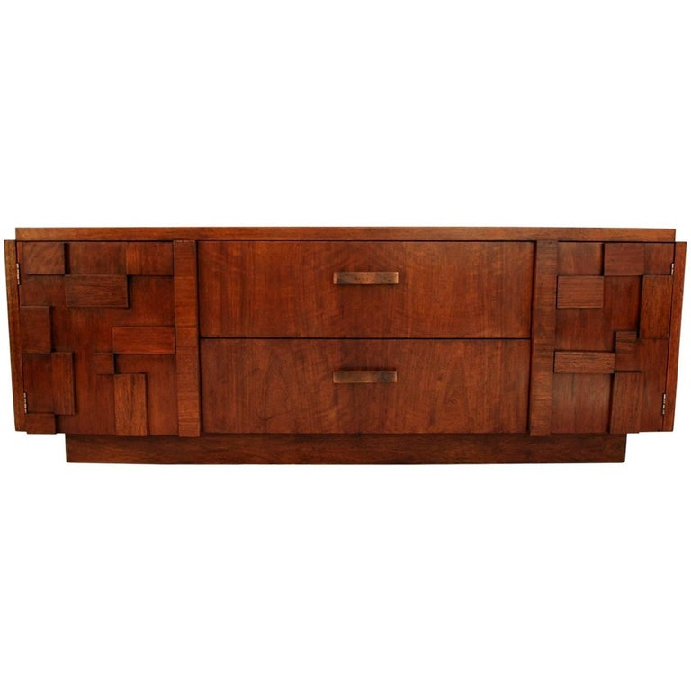 Sexy Midcentury and Brutalist Buffet or Credenza by Lane