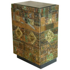 H. A. Larson Brutalist Patchwork Bar Cabinet with Slate Top