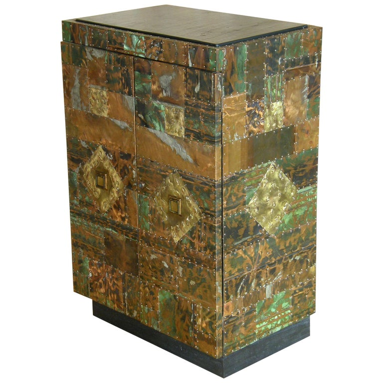 H. A. Larson Brutalist Patchwork Bar Cabinet with Slate Top 1