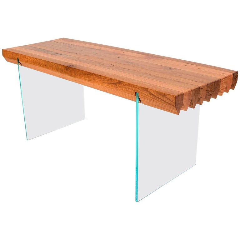 Sawtooth Bench Reclaimed Oak Barn Board and Glass Contemporary Bench