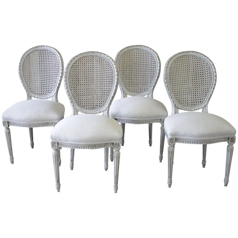 Set Of Four Louis Xvi Carved And Painted French Cane Back Dining Chairs At 1stdibs