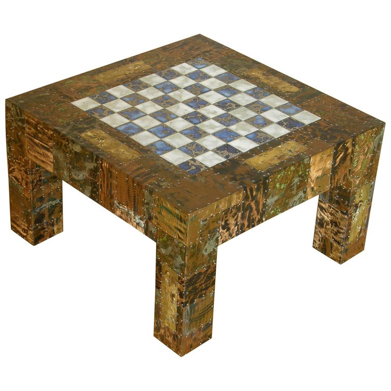 H. A. Larson Brutalist Patchwork Chess Table with Ceramic Tile Top For Sale