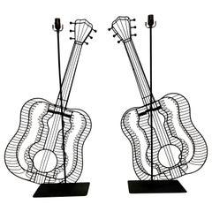 Pair of Fredrick Weinberg Style Guitar Lamps