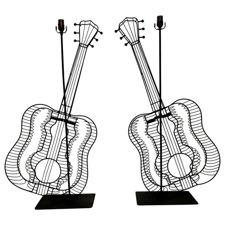 Pair of Fredrick Weinberg Guitar Lamps