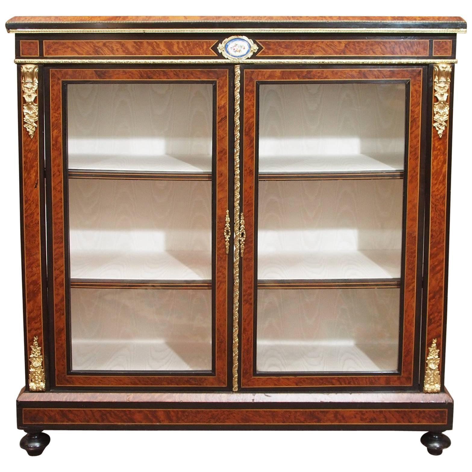 Antique English Briarwood And Ebonized Cabinet 1