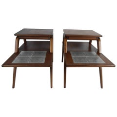 Pair of Mid-Century Modern Two-Tier End Tables with Tile Inlay