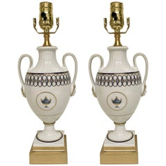Pair of Neoclassic Lamps, by Gio Ponti for Richard Ginori Pittorai