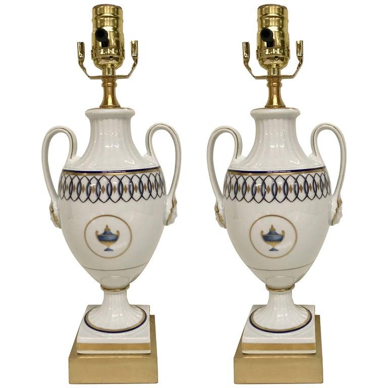 Pair of Neoclassic Lamps, by Gio Ponti for Richard Ginori Pittorai