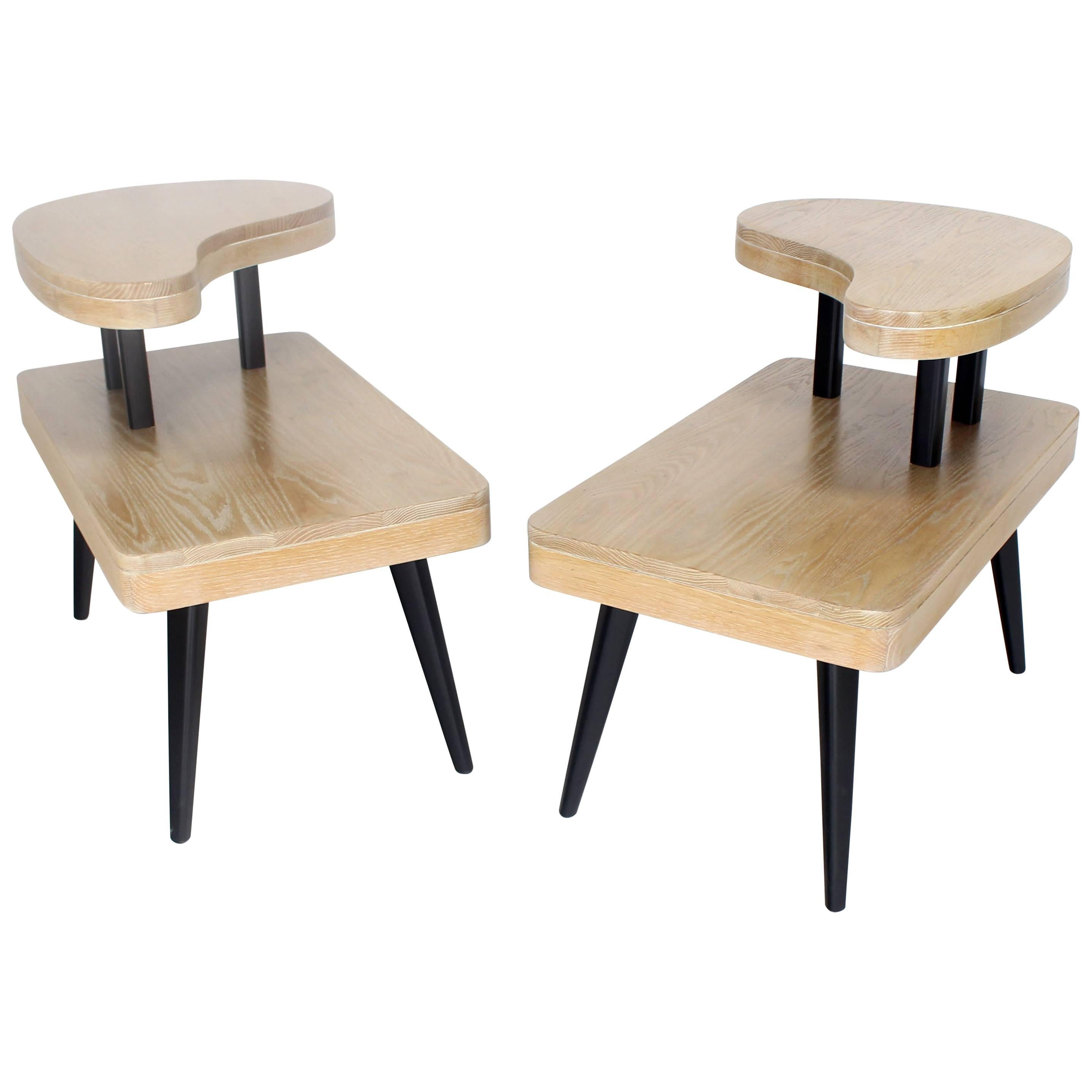 Cerused Oak Two-Tier Mid-Century Modern Organic Two-Tone End Tables Stands, Pair